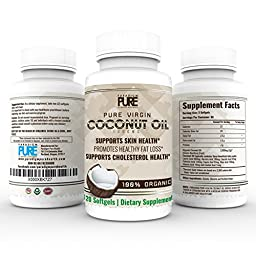 Pure Organic Virgin Coconut Oil Capsules, 120 Softgels Pills, Supports Healthy Cholesterol, Skin, Hair and Nails