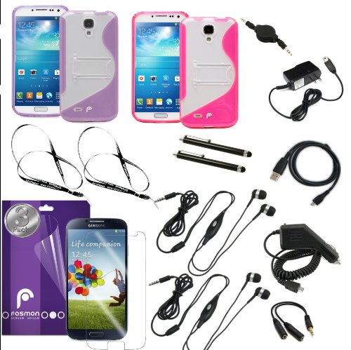 Fosmon 16 In 1 Bundle For The Samsung Galaxy S4 / I9500 - Includes 2X Fosmon Dura S Series Slim-Fit Tpu Cases, 3 Pack Of Crystal Clear Screen Protectors, 2X Stereo Headsets With Mic (Black), 3.5Mm Stereo Headphone Splitter Adapter, 2 Pack Touch Screen Sty