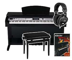 Classic Cantabile DP-400 Digitalpiano Schwarz Hochglanz SET inkl. Bank + Kopfhörer + Pianoschule + CD