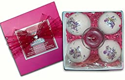 Romantic Rose Bath Bomb Gift Set, 4 Giant 8 oz Bath Bombs- Votive Candle & Rose Petal Soaps - Beautiful, Romantic Gift. Handcrafted in USA with Natural & Organic Ingredients (Romantic Rose)
