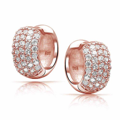 Bling Jewelry Rose Gold Plated Pave CZ Wide Huggie Hoop Earrings Silver