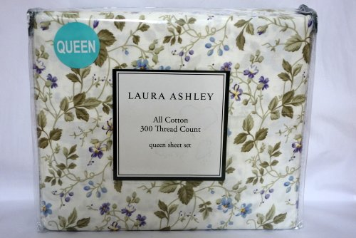 Laura Ashley All Cotton 300 Thread Count Queen Sheet Grand Lit Set front-883396