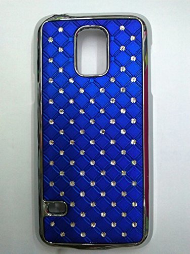 Maclogy 2014 Latest Fashion Design Luxury Dazzling Rhinestones Shiny Crystal Diamond Plating Protective Shell Trapped Difficult Cases Samsung Galaxy S5 I9600 And Fashion Chain Crystal Ornaments Color Uv Radiation Gifts (Blue)