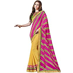 Vasu Saree Exuberant Pink Patch Border Work Designer Georgette Saree