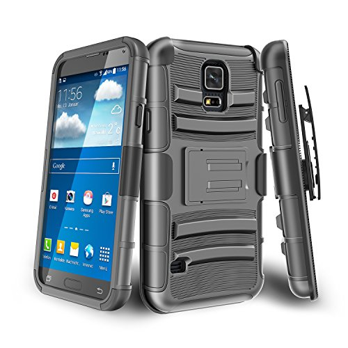 Galaxy S5 Case,TILL [Knight Armor] Shock Absorbing Heavy Duty Full-body Rugged Holster Case [Belt Swivel Clip][Kickstand] Combo Cover Shell For Samsung Galaxy S5 S V I9600 GS5 All Carriers [Black] (Tmobile Samsung Galaxy S5 Case compare prices)