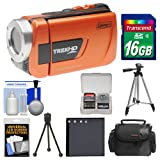 Coleman CVW16HD TrekHD Waterproof HD Digital Video Camera Camcorder (Orange) with 16GB Card + Case + Battery + 2 Tripods + Accessory Kit