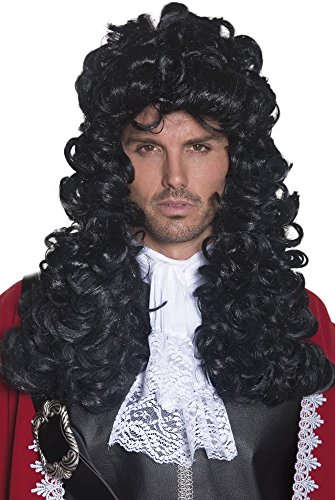 Smiffy's Men's Pirate Captain Wig Long and Curly, Black, One Size Pirate Costume Wig