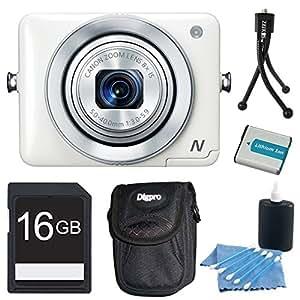 Canon PowerShot N White 12.1MP Digital Camera 16GB Bundle - Includes camera, 16GB Secure Digital SD Memory Card, Deluxe Ultra-Compact Digital Camera Bag, NB9L 1000MAH LI-ION Battery, Flexible Mini Table-top Tripod, and 3pc. Lens Cleaning Kit