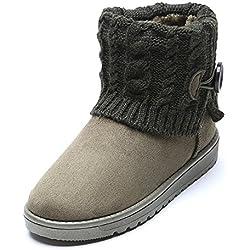 Lalang Damen Stiefel Winterstiefel Warm Winter Boots Knopf Strickwolle Schneestiefel (36, Armee-Grün)