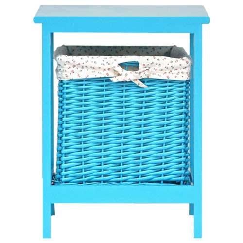 lounge-zone PID 5945 LISA - Taburete de ratán (incluye cesta extraíble altura de 45 cm) color azul