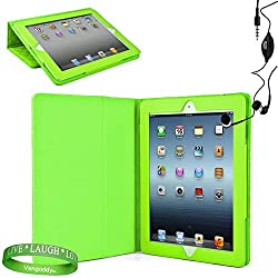 Mybat Green Tablet Case + At&T 4G , 16 Gb , 32Gb , 64 Gb, Mc707Ll/A , Md328Ll/A , Mc705Ll/A , Ect.. ) + Compatible Ipad 3 Earbud Earphones With Microphone + Live Laugh Love Vangoddy Trademarked Wrist Band