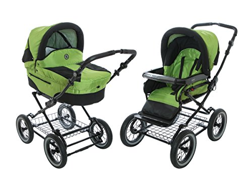 Cheapest Price! Roan Rocco Classic Pram Stroller 2-in-1 with Bassinet and Seat Unit - Lime