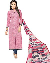 Glorious World Pink Cotton Embroidered Dress Material