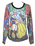 Beauty and the Beast Disney Juniors Light Sweatshirt - Giant Stained Glass Image