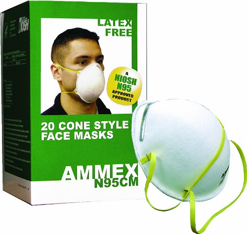 Ammex N95 Rated Face Masks - Protects From Flu, Sars and Other Fatal Deseases - 20 per Box - Niosh N95