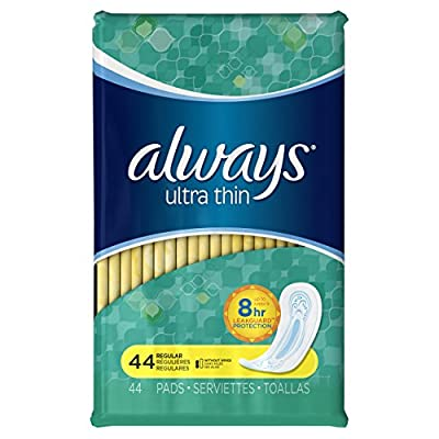 Always Ultra Thin Pads Regular Non-Wing Unscented, 44 Count