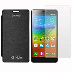 Red Qube Complete Protection To Your Phone Premium Tempered Glass With High Quality Flip cover For Lenovo K3 Note