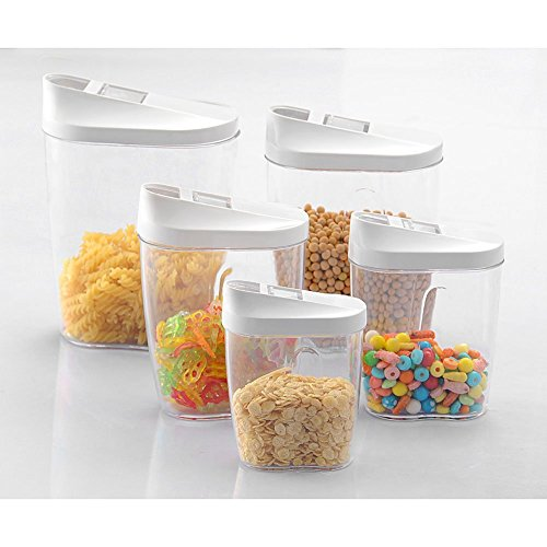FANYI 5Piece Locking Clear Acrylic Plastic Food Storage Jars Canister Set Ideal for Sugar, Tea, Coffee, Rice, Pasta etc with Airtight Lids (Locking Sugar Container compare prices)