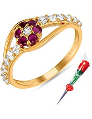 Mahi Ruby & CZ With Rose Stick Fashion Finger Ring For Women FR5100305GCSt