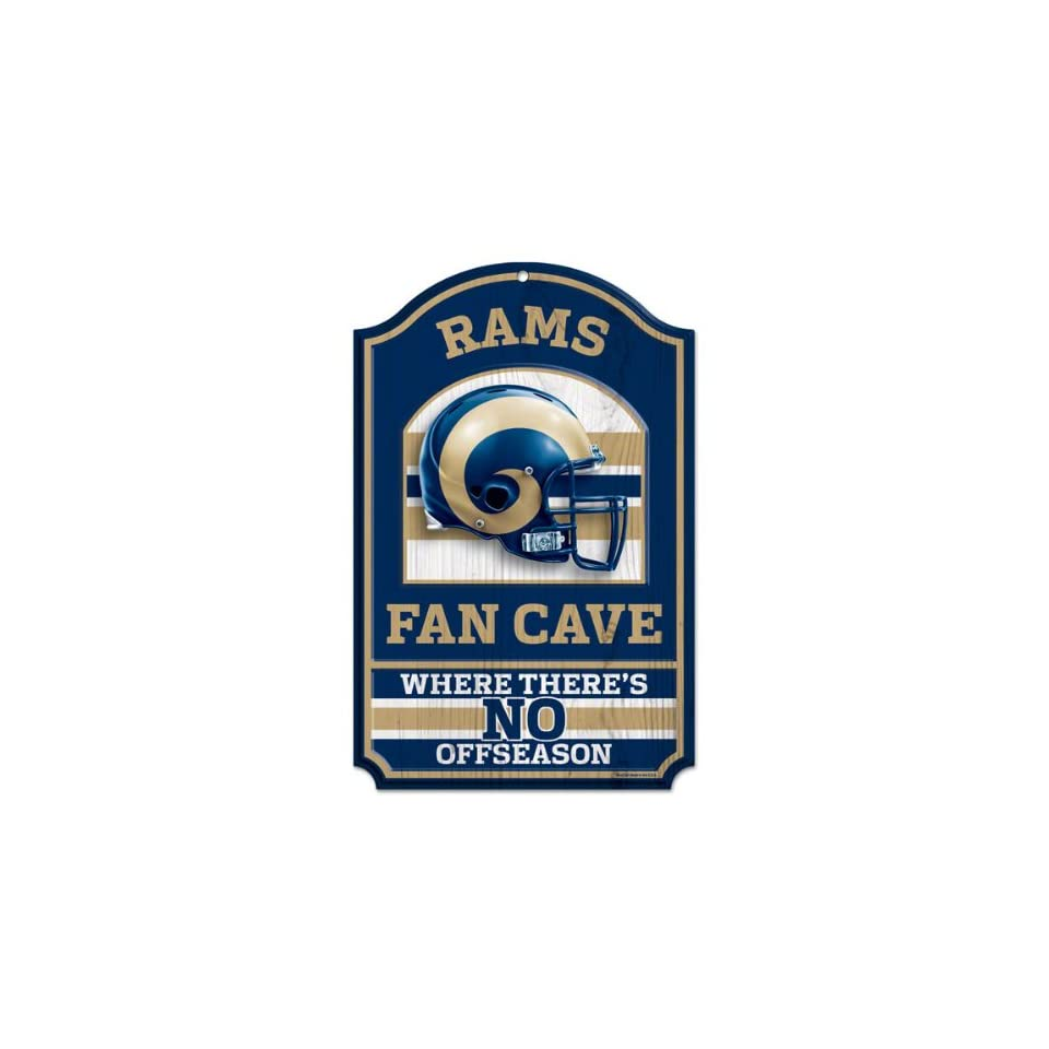 NFL St. Louis Rams 11 by 17 inch Fan Cave No Offseason Wood Sign