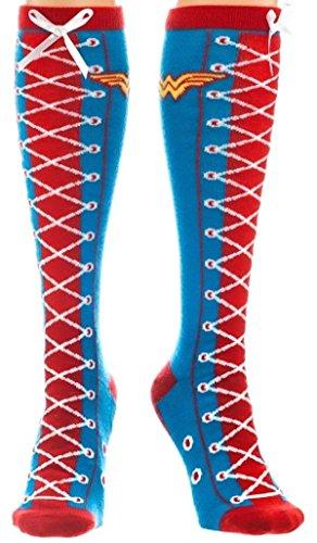 Dc Comics Wonder Woman Faux Lace Up Costume Knee High Socks