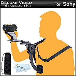 Deluxe Hands Free Video Shoulder Mount Stabilizer Support Rig + Carrying Case For Sony HDR-CX220, HDR-CX230, HDR-CX290, HDR-PJ230, HDR-CX380, HDR-PJ380, HDR-CX430V, HDR-PJ430V, HDR-TD30V, HDR-PJ650V, HDR-PJ790V HD Camcorder