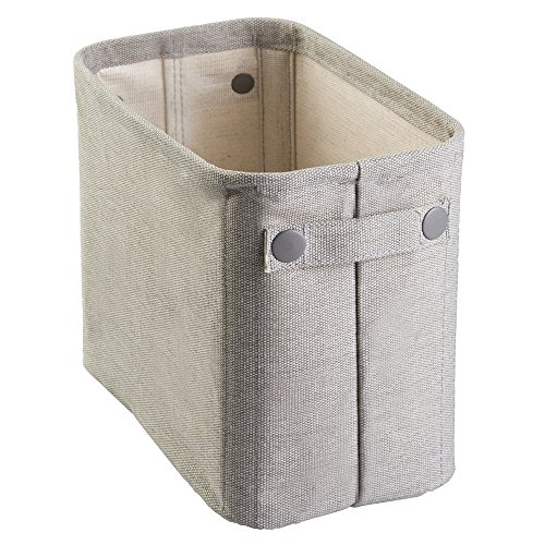 InterDesign Wren Cotton Fabric Bathroom Storage Bin for Magazines, Toilet Paper, Bath Towels - Large, Light Gray