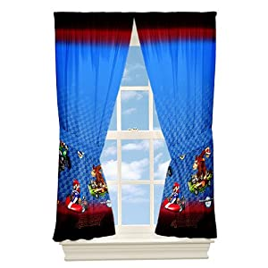 Super Mario To The Track Drapes Kids Window Panels Mario Kart Boys from Nintendo