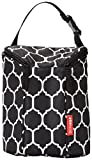 Skip Hop Baby Grab & Go Insulated Double Bottle Storage Bag with Attachable Stroller Straps & Freezer-Pack, Black / White, Onyx Tile