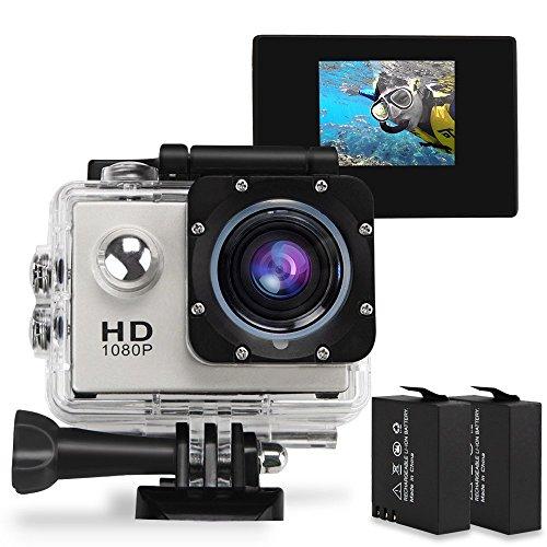 GBB fotocamera impermeabile di azione di sport 1080P 12MP 170 ° grandangolare con 2 batterie e gratuito Attività: Kit di accessori - Argento