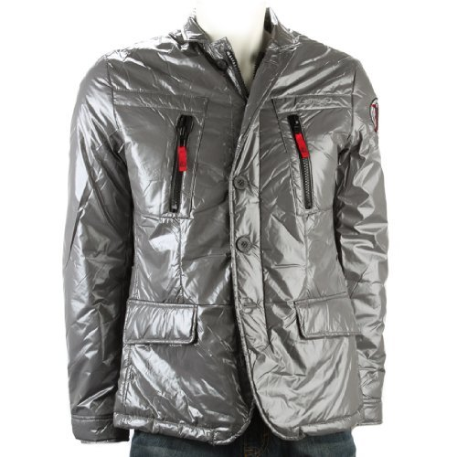 Ed Hardy Mens Death Or Glory Puffer Jacket -Grey - X-Large