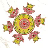 999Store Handmade Multicolour Wooden Rangoli Diwali Decorative Item, Home Décor Yellow Pink
