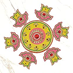 999Store Handmade multicolour wooden Rangoli Diwali decorative item, home dcor yellow pink