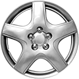 """OxGord Hubcaps for Chevy Aveo 2009-2011 15"""" Inch Silver Auto Wheel Cover, OEM Genuine Factory Aftermarket Replacement, ABS Plastic - Easy Snap On - Includes 5 Lug Nut Center Caps"""