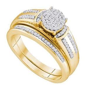 Pricegems 10K Yellow Gold Ladies Round Brilliant Diamond Pave Set Bridal Ring Size: 5)