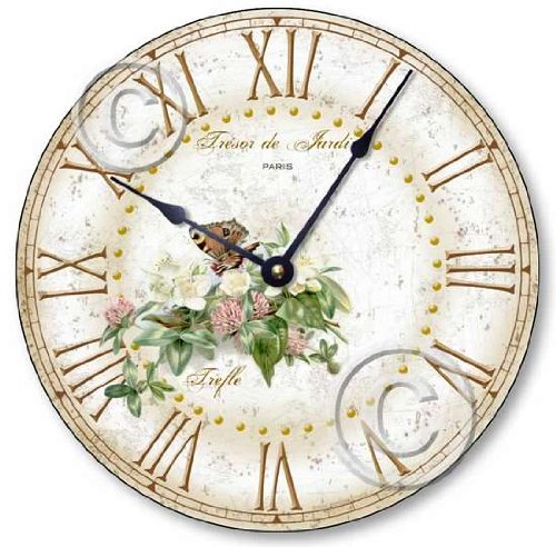 Item C2040 Vintage Shabby Style 10.5 Inch Butterfly & Clover Blossoms Clock
