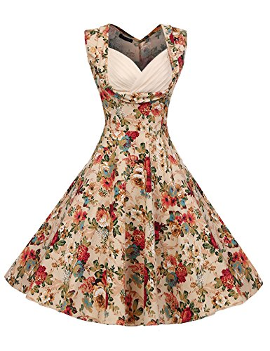 ACEVOG Women's 1950s V Neck Vintage Cut Out Retro Party Cocktail Swing Dress, Large, Apricot