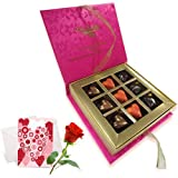 Valentine Chocholik's Belgium Chocolates - Made For Each Other Of Love Chocolates With Love Card And Rose