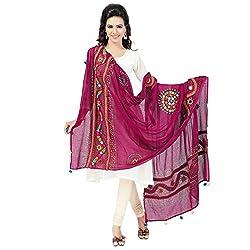 Banjara WomenS Cotton Stoles & Dupattas Kutchi Mirrorwork (Kch09_Pink_Handicraft Dupatta_Free Size)