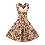 ACEVOG Women's 1950s V Neck Vintage Cut Out Retro Party Cocktail Swing Dresses