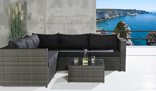 Sofa Lounge Set 3 tlg. Gartensitzgruppe grau Outdoor Sitzgruppe Poly Rattan