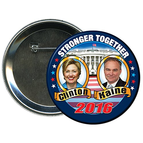 Hillary Clinton and Tim Kaine Round 2016 Campaign Button 1 (Election Buttons compare prices)