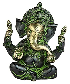 "Statuestudio Ganesh Chaturbhuj Idol Brass Idol 15"" Black"