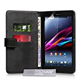 Sony Xperia Z Ultra Tasche Schwarz PU Leder Brieftasche