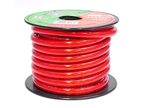Pyramid RPR425 4 Gauge Power Wire 25 feet OFC (Clear Red) (4 Gauge Car Speaker Wire compare prices)