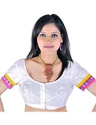 Exotic India Ivory Saree Blouse With Sequins And Banarasi Border - Ivory