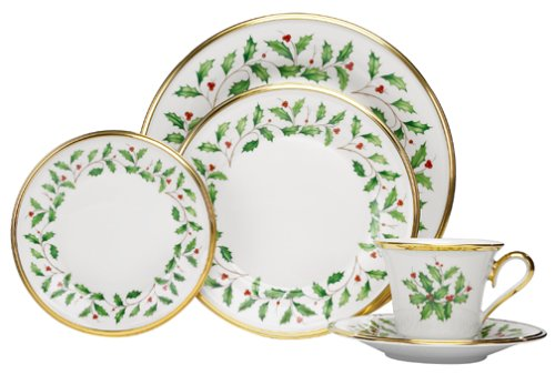 Holiday Holly 5-Piece Gold-Banded Fine China Place Setting Set Service for 1 by Lenox