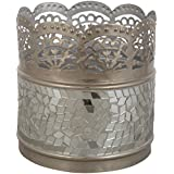 CONJURE Iron And Crystal Mosaic Tealight Holder (13 Cm X 13 Cm X 13 Cm, Silver)