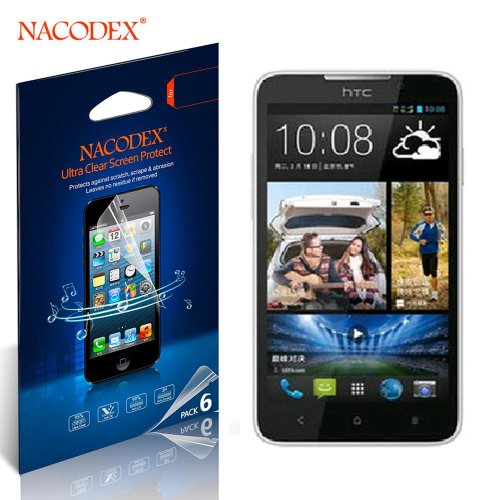 Nacodex® 6X Hd Clear Screen Protector Film For Htc Desire 516 316 516 D316D D316D/516T/D/W Lcd Cover Guard Shield [ 6Pcs Screen Protectors + 2X Cleaning Cloth + 1X Smoothing Card] [ W/Tracking No.]