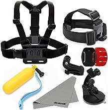 Aodoor GoPro accesorios kit 5 en 1 cámara de los deportes del kit de 5 piezas de la correa de la venda + pecho + adaptador J-Hook + natación Grip Holder + ventosa del montaje del coche para GoPro HD Hero 1/2/3/3 + / 4